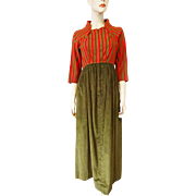Designer Maxi Dress Vintage 1970s Red Olive Striped Linen Corduroy Ruth Bekker For Chezelle