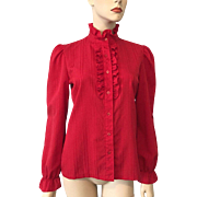 Red Vintage Poet Blouse Vintage 1970s Ruffles Victorian Revival Lucky Winner Small