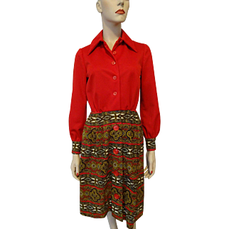 Vintage 1970s Red Print Polyester Dress Pointed Collar Herman Marcus of Dallas Label