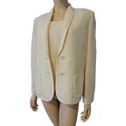 Winter White Butte Knit Sweater Jacket Set Vintage 1970s Soft Knit Shell Blazer Butte Knit