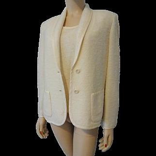 Winter White Butte Knit Sweater Jacket Set Vintage 1970s Soft Knit Shell Blazer Butte Knit