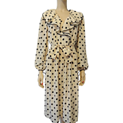 Pure Silk Polka Dot Dress Vintage 1980s British Crown Colony Hong Kong Designer Label