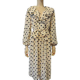 Pure Silk Polka Dot Dress Vintage 1980s British Crown Colony Hong Kong Designer Label