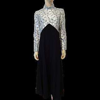 Womens Vintage 1970s Maxi Dress Silver Lurex Metallic Snowflakes Black Skirt Disco Era