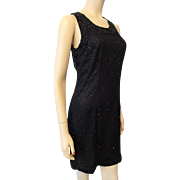 Sexy Lawrence Kazar Beaded Silk Cocktail Dress Vintage 1980s Special Occasion Evening Wear M