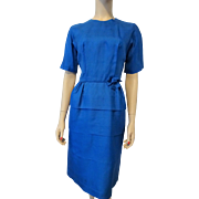 Royal Blue Silk Faille Wiggle Dress Vintage 1950s Womens Fashion Clothing