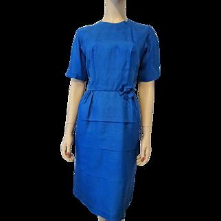 Royal Blue Silk Faille Wiggle Dress Vintage 1950s Womens Fashion Clothing