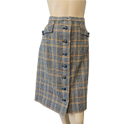 Culotts Vintage 1970s Wool Plaid Skirt Skort Shorts