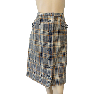 Culotts Vintage 1970s Wool Plaid Skirt Skort Shorts