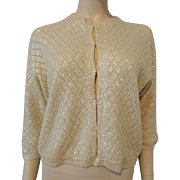 Vintage 1950s Cardigan Sweater Ivory Sequin Argyle Sparkly Holiday Wear