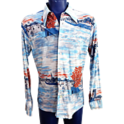 ON HOLD For Kolette: Mens Leisure Shirt Vintage 1970s Silky Nylon Graphic Print Pointed Collar