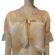 Silk Bed Jacket Lingerie Vintage 1930s Peach Fine Net Lace The May Company Los Angeles