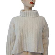 Alpaca Wool Turtleneck Sweater Vintage 1980s Cropped Ivory Peruvian Trading Co.
