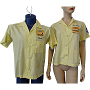 Vintage 1970s His and Hers Bowling Shirts Advertising United Telephone Yellow Cotton Nat Nast