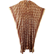 Bohemian Silk Caftan Kaftan Vintage 1970s India Al Amar Pure Silk Paisley Maxi Dress Gown