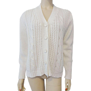 Womens Cardigan Cable Knit Sweater Vintage 1970s Winter White Soft Acrylic