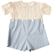 Boys Romper Vintage 1930s Baby Blue Size 2T