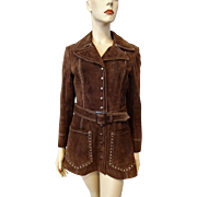 Vintage 1970s Brown Suede Leather Jacket Coat Boho Bohemian Hippie Tannery