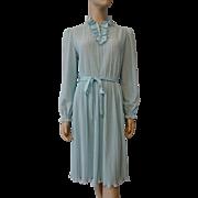 Vintage 1970s Sheer Powder Blue Dress With Pleats Ruffles Belt