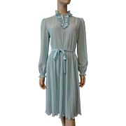 Vintage 1970s Sheer Powder Blue Dress With Pleats Ruffles Belt