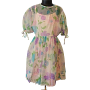 Girls Vintage 1950s Sheer Floral Full Circle Swing Dress Pink Full Slip Cater Frock