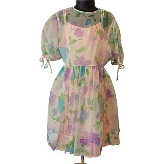 Girls Vintage 1950s Sheer Floral Full Circle Swing Dress Pink Full Slip Cater Frock
