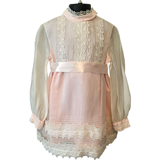 Vintage 1960s Girls Fit and Flare Dress Pink White Lace