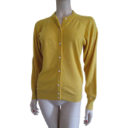 Lord and Taylor Cashmere Sweater Vintage 1980s Yellow Cardigan