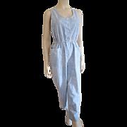 Jumpsuit Acid Wash Vintage 1980s Denim Chambray Sleeveless Pearl Snap
