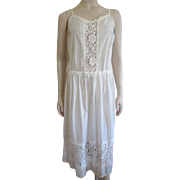 Cotton Pintuck Lace Sun Dress Vintage 1980s Aileen West for Queen Annes Lace San Francisco