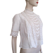 ON HOLD For Deborah: Antique Edwardian Blouse White Cotton Pintuck Lace Crocheted Buttons