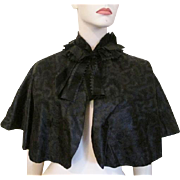 Antique Victorian Black Silk Womens Cape