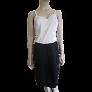 Vintage 1950s Rayon Full Slip Black White