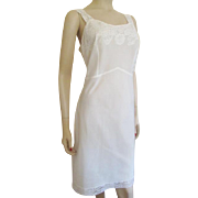 Vintage 1950s White Full Slip Lace Back Magic Large Size