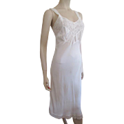 Ivory Bias Cut Full Slip Vintage 1940s Negligee Lingerie Lace