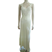 Vintage 1930s Negligee Nightgown Lace Yellow Nylon Ladye Helene