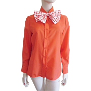 Deadstock Womens Blouse Vintage 1960s Orange Coral Polka Dot Scarf Ascot