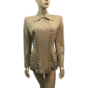 Vintage 1940s Lilli Ann Jacket Blazer Tan Double Breasted