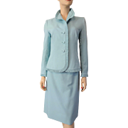 Lilli Ann Silk Faille Suit Twin Set Vintage 1960s Jacket Pencil Wiggle Skirt Powder Blue Ruffles
