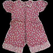 Feedsack Childs Romper Vintage 1930s Depression Era Handmade Cotton Clothing