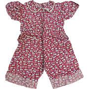 Feedsack Childs Romper Vintage 1930s Depression Era Handmade Cotton Clothing