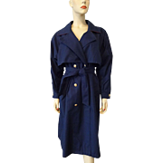 London Fog Trench Coat Vintage 1980s Navy Blue Large Womens Spring Rain Jacket