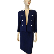 Navy Suit Jacket Skirt Vintage 1950s Womens Caliday of California