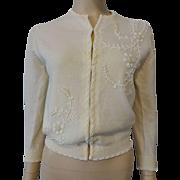 Beaded Cardigan Sweater Vintage 1950s Angora Lambswool Nylon