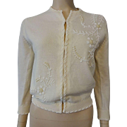 Beaded Cardigan Sweater Vintage 1950s Angora Lambswool Nylon