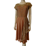 Vintage 1940s Sweetheart Dress Rayon Lace Fit and Flare