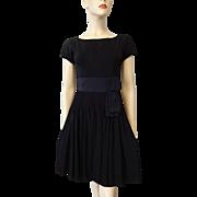 Vintage 1940s Black Dress Fit and Flare LBD