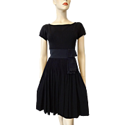 Vintage 1940s Black Dress Fit and Flare LBD