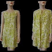 Floral Linen Dress Suit Vintage 1960s Chartreuse Mod Jackie O Twin Set