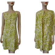Floral Linen Dress Suit Vintage 1960s Chartreuse Mod Jackie O Twin Set